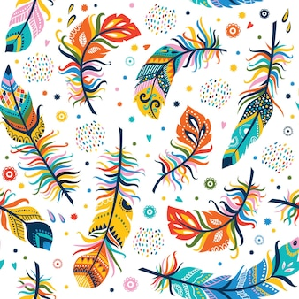 Seamless feathers pattern in boho style