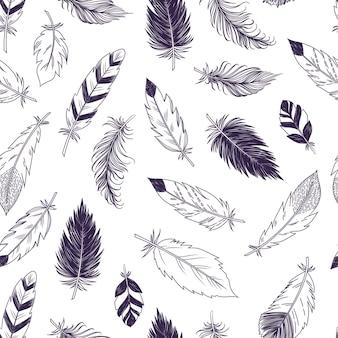 自由奔放に生きるスタイルのシームレスな羽のパターン。