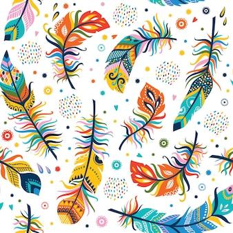 自由奔放に生きるスタイルのシームレスな羽のパターン