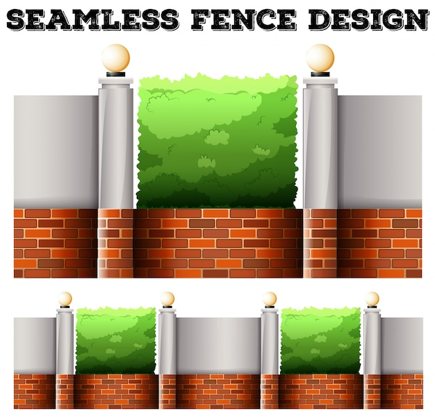 Seamless fence desing with lamps