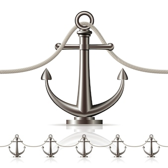 Seamless fence featuring an anchor  on white.