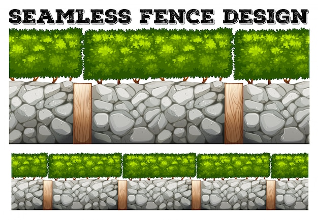 Seamless fence  with tree and stones