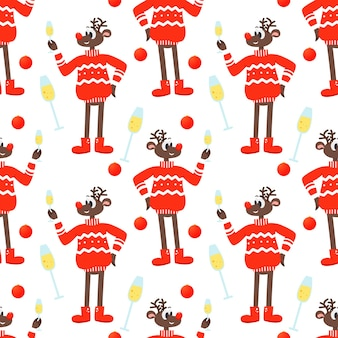 Seamless festive background with a christmas reindeer in a red sweater and champagne