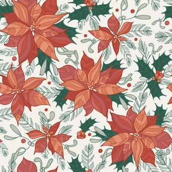 Бесшовный праздничный образец с падубом, еловыми веточками и пуансеттией. прекрасная рисованная векторная иллюстрация в плоском стиле. рождественский или новогодний дизайн для упаковки, текстиля, открыток и других дизайнов.