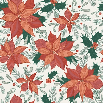 Seamless festive pattern with holly, spruce sprigs and poinsettias. lovely hand-drawn vector illustration in flat style. christmas or new year design for wrapping, textile, card and other designs.