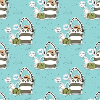 Seamless fishing panda and cute cat in holiday pattern