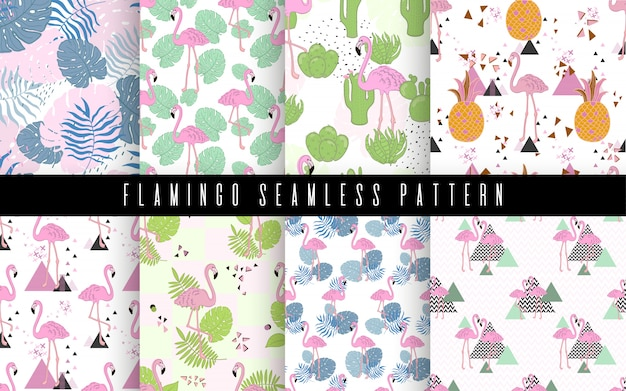 Seamless flamingo and leaves tropic pattern vector illustration
