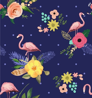 Seamless flamingo with flower pattern illustration
