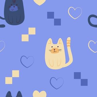 シームレスフラットナイーブ猫パターン