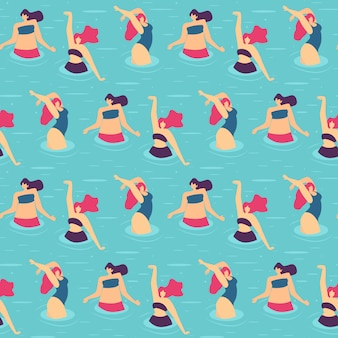 Seamless flat pattern active woman pool party