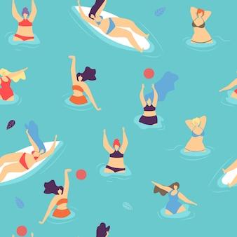 원활한 플랫 패턴 몸 긍정적 인 여자 개념