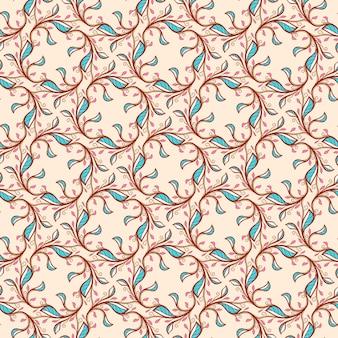 ベージュの背景にピンクと青の葉と渦巻きとのシームレスな花の抽象的なパターン