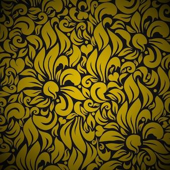 シームレスな花の背景パターン。黒に金の花