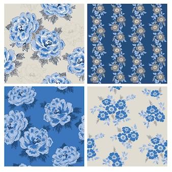 Seamless floral background set