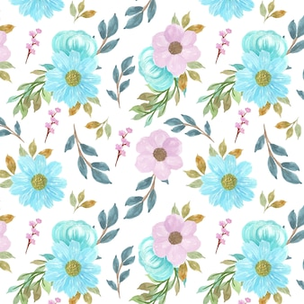Seamless floral background with gorgeous blue and purple flowers