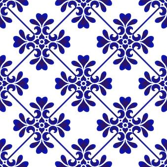 シームレスフローラルブルーパターン