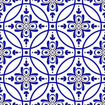 Бесшовный цветочный синий узор
