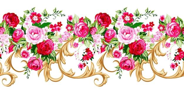 우아한 장미와 원활한 꽃 테두리