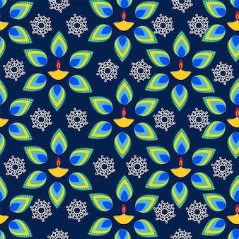 シームレスフローラルイルミネーションオイルランプ(diya)パターンの背景。