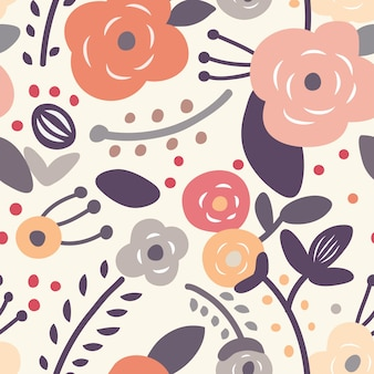 Seamless floral light pattern on a light background