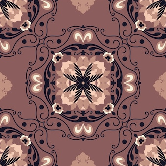 Seamless floral natural abstract geometric pattern on brown  background autumn folk art