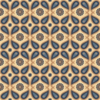 Seamless floral natural abstract geometric pattern on brown background folk art paisley style