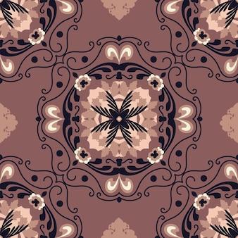 갈색 배경가 민속 예술에 완벽 한 꽃 자연 추상적인 기하학적 패턴