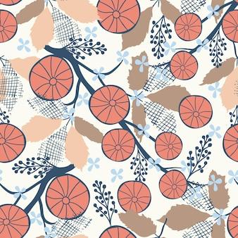 흰색 배경에 원활한 꽃 자연 추상 패턴 민속 예술 스타일 손 그리기