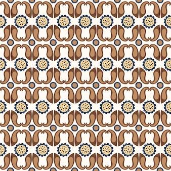 흰색 바탕에 원활한 꽃 자연 기하학 추상 패턴 민속 예술 페이 즐 리 스타일