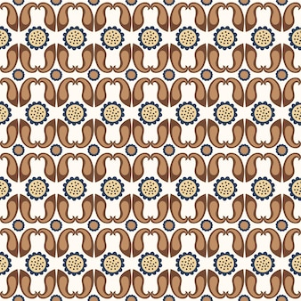 Seamless floral natural geometri abstract pattern on white background folk art paisley style
