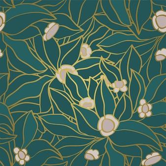 원활한 꽃 장식 꽃과 녹색 패턴
