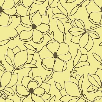 Бесшовный цветочный узор. линейный рисунок руки с цветами и листьями магнолии. зеленый контур на желтом фоне. векторная иллюстрация.