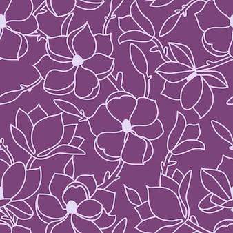 Бесшовный цветочный узор. линейный рисунок руки с цветами и листьями магнолии. светлый контур на сиреневом фоне. векторная иллюстрация.