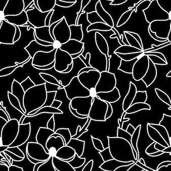 シームレスな花柄。マグノリアの花と葉で描く直線的な手描き。黒の背景に白のアウトライン。ベクトルイラスト。