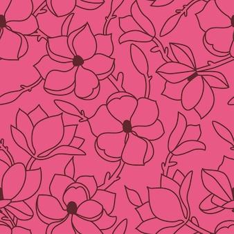 Бесшовный цветочный узор. линейный рисунок руки с цветами и листьями магнолии. бордовый контур на розовом фоне. векторная иллюстрация.