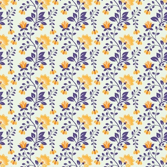 Seamless floral pattern abstract flowers and leaves blue and orange color