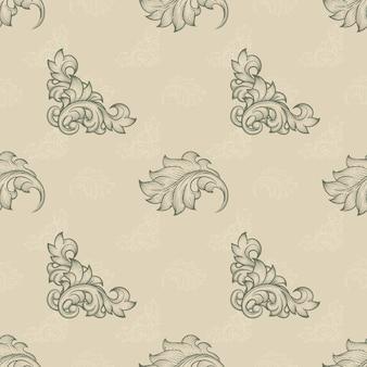 완벽 한 꽃 패턴입니다. 끝없는 배경, 반복 요소, 단풍 식물, 바로크 및 곡선 잎, 벡터 일러스트 레이션