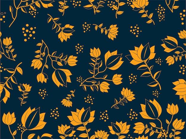 オレンジと青の色でシームレスな花柄の背景。