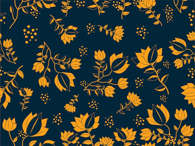 Seamless floral pattern background in orange and blue color.