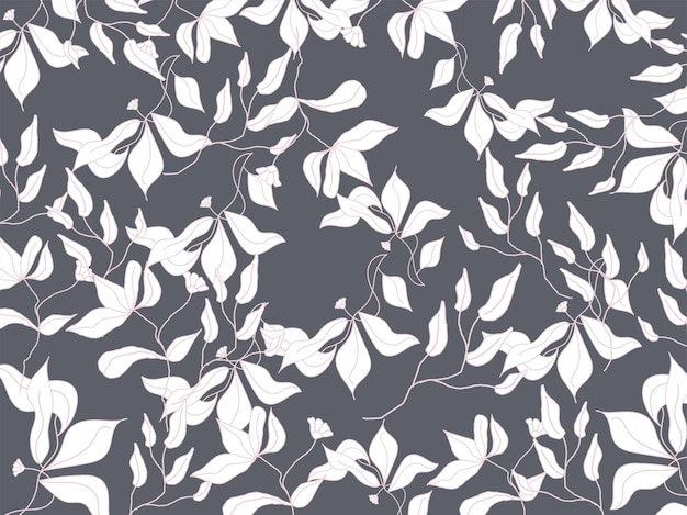 Seamless floral pattern background in white and gray color.
