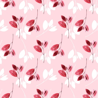 Seamless floral pattern. background with pink leaves.