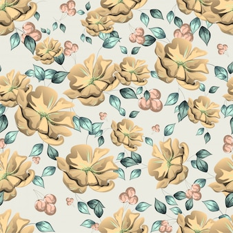 Seamless floral pattern background with water color effect.