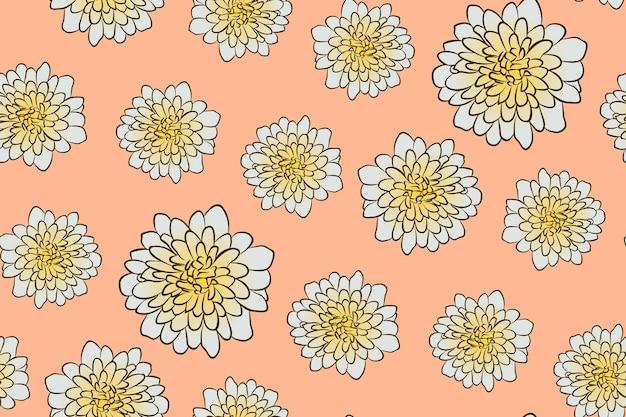 シームレスな花柄ライトオレンジ色の背景にスケッチスタイルの美しいベージュのアスターの花