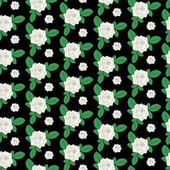 Бесшовные цветочный узор красивый мультфильм белые розы цветы в стиле эскиза с зелеными листьями