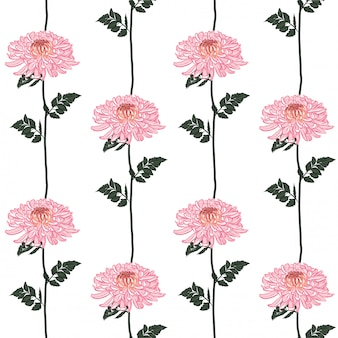 Seamless floral pattern. blooming pink japanese pink chrysanthemum flowers .