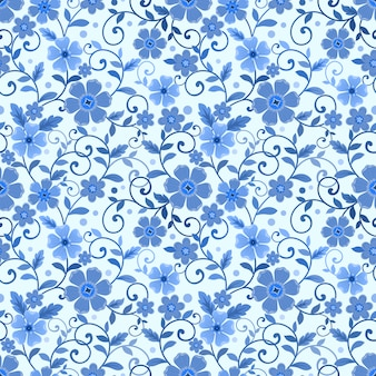 Seamless floral pattern on blue monochrome background fabric textile wallpaper.