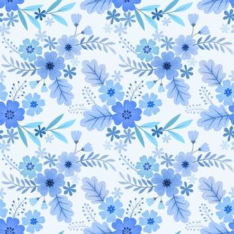 Бесшовный цветочный узор, синие монохромные обои.
