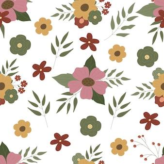 シームレスな花柄花の花束植物の葉