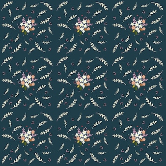 Seamless floral pattern composition small field flowers twigs berries leaves on navy color
