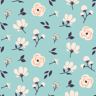 Seamless floral pattern design with cute flowers